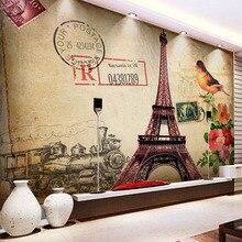 Papel tapiz Retro de estilo europeo pintura al óleo 3D torre de hierro edificio murales de fotos sala de estar dormitorio papeles de pared de fondo