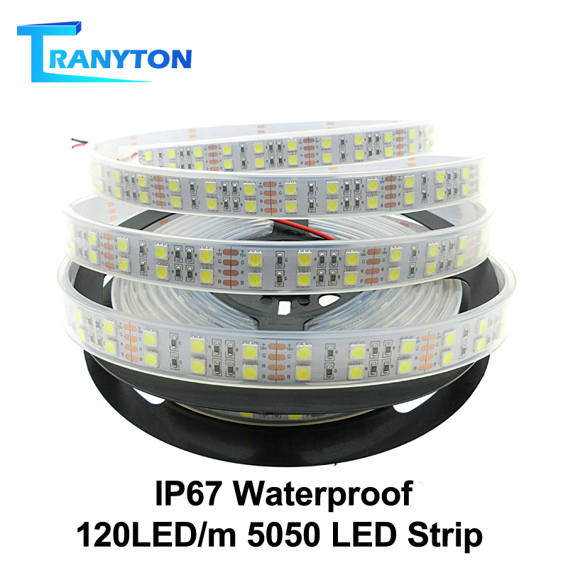 120 LEDs m LED Strip 5050 DC12V Silicone Tube Waterproof IP67 Flexible LED Light Double Row 5050 LED Strip 5m lot