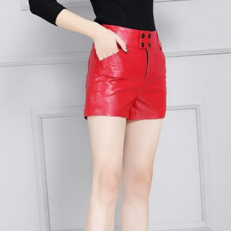 Fashion Sheepskin Leather Shorts Femme Winter Wide Leg Zipper Fly Short Pants Red Black Office Lady Top Quality Trousers Women