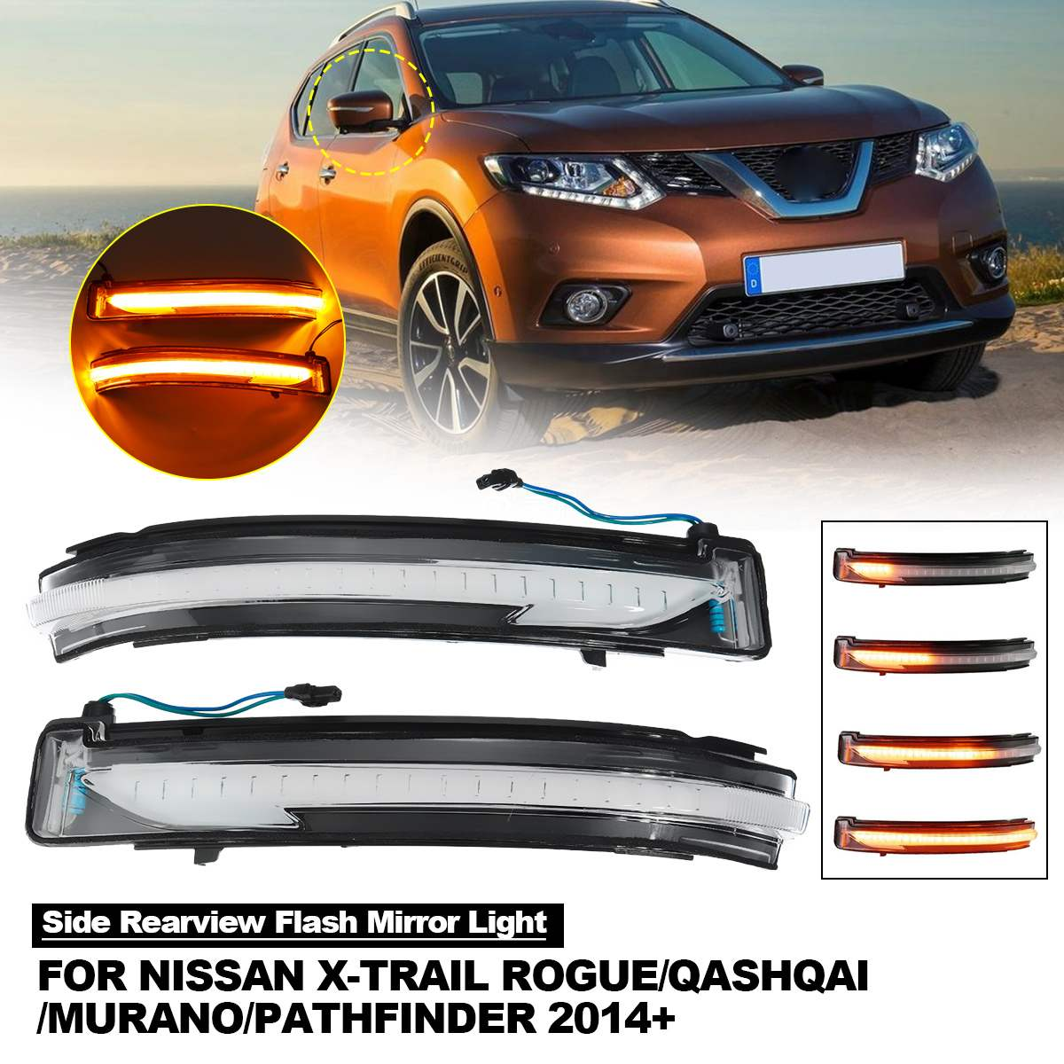 For Nissan X-trail Qashqai Murano Navara NP300 Juke Dynamic Turn Signal Light