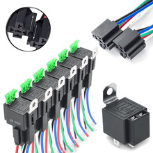 цена на DC 12V 30A Fuse Relay Switch Harness Set 4-Pin SPST Automotive Relays 14AWG Wires Premium Car Accessory