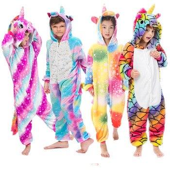 Winter Flannel Pajamas Unicorn Girl Toddler Christmas Pajama Boys Kigurumi Cosplay Unicorn Kids Baby Pajamas Licorne 4 6 kigurumi unicorn pajamas kids pyjamas baby boys pajama children s clothing girls onesie kids animal panda home clothes flannel