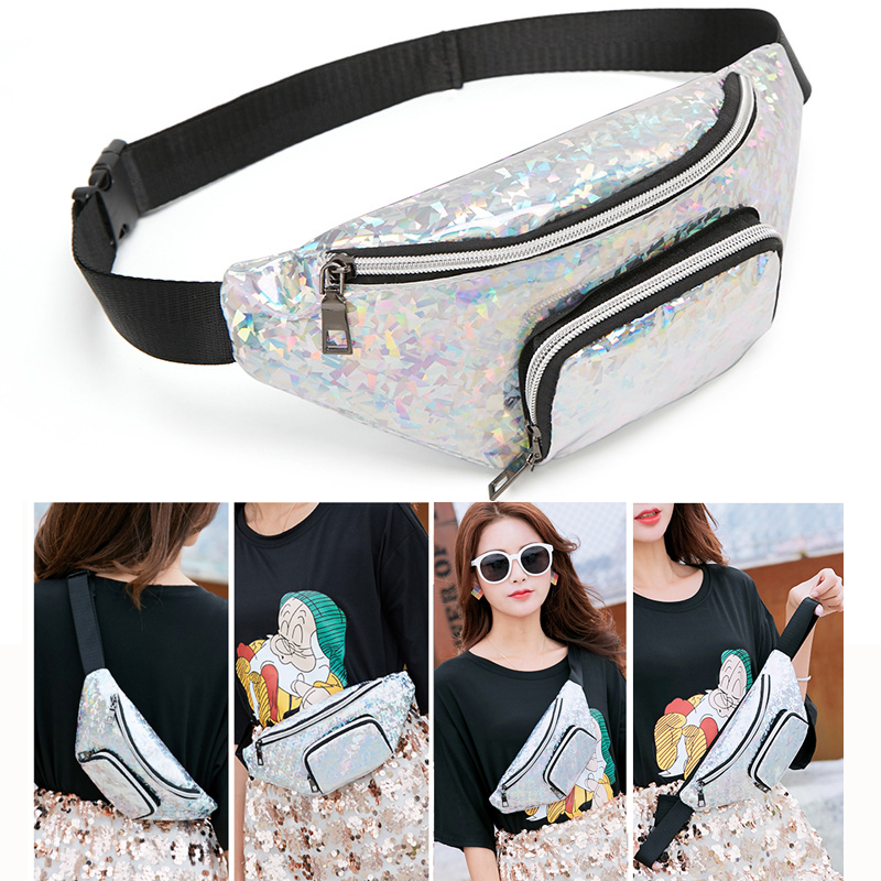 Waist Packs Women Fanny Pack Phone Bag Female Banana Belt Bag Zipper Pocket Wallet Sport Waist Bag Laser Holographic Chest Pouch