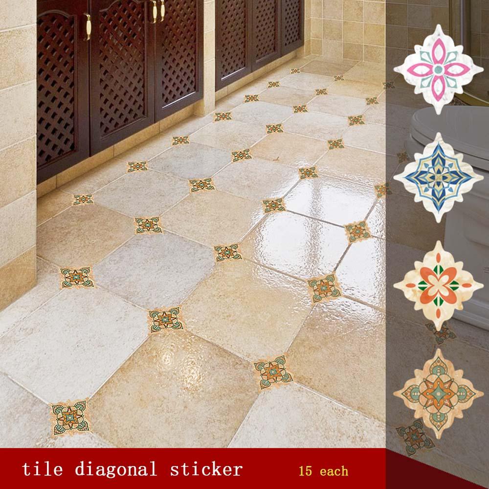 15/21Pcs Kitchen Decorative Sticker Self Adhesive PVC Ceramic Tile Stickers Waterproof Wall Sticker Art Diagonal Floor Stickers
