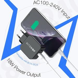 Image 4 - BlitzWolf QC3.0 USB adaptateur voyage mur ue prise chargeur téléphone portable chargeur rapide pour iPhone 11X8 Plus pour Samsung Smartphone