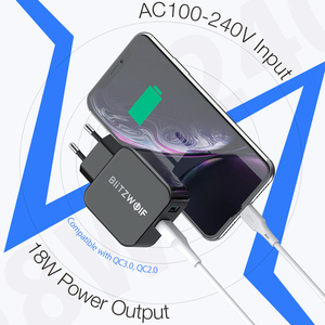 Image 4 - BlitzWolf QC3.0 USB מתאם נסיעות קיר האיחוד האירופי תקע מטען נייד טלפון מטען מהיר עבור iPhone 11X8 בתוספת עבור סמסונג Smartphone