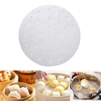 100Pcs Bamboo Steamer Liner Perforated Air Fryer,Round Air Fryer Liners,Non-stick Basket Paper Mat for Steamer Baking Dumplings