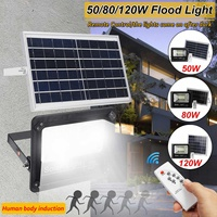 120/80/50w Motion Sensor LED Porch Lights Solar LED Flood Light Outdoor Garden Security Lamp Waterproof Street Light with RC