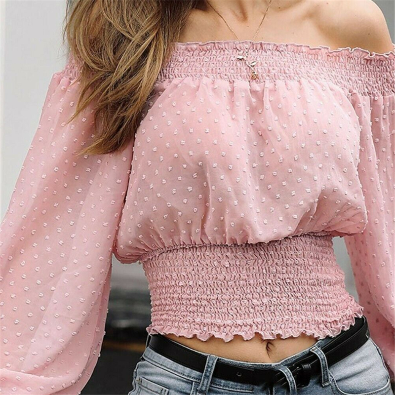Summer Sexy Off Shoulder Blouses Women Tops And Blouses Casual Puff Sleeve Shirt Women Elegant Bandage Top