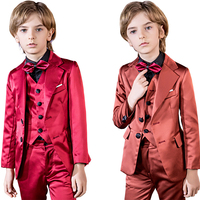YuanLu 3PCS Kids Suit For Boy Glossy Wedding Blazer Jacket Formal Costume Toddler Clothes Wedding Party Piano Two Color Choose