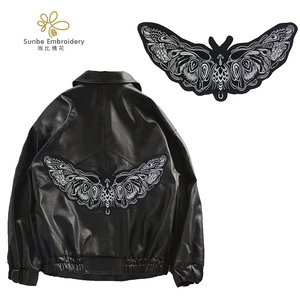 Черно-белая бабочка вышивка патчи насекомое аппликация Одежда Сумки декоративное железо на значке
