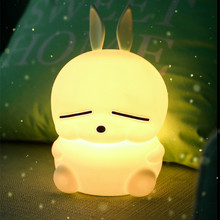 まろledナイトライトタッチセンサーカラフルなusb漫画シリコーンウサギのランプウサギのための子供キッズベビーギフト