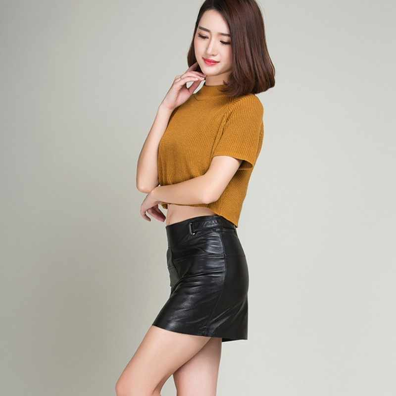 Autumn New Brands Womens Skirts Sheepskin Streetwear Sexy Wrap Jupe Femme Real Leather Casual Bodycon Pencil Mini Faldas Woman