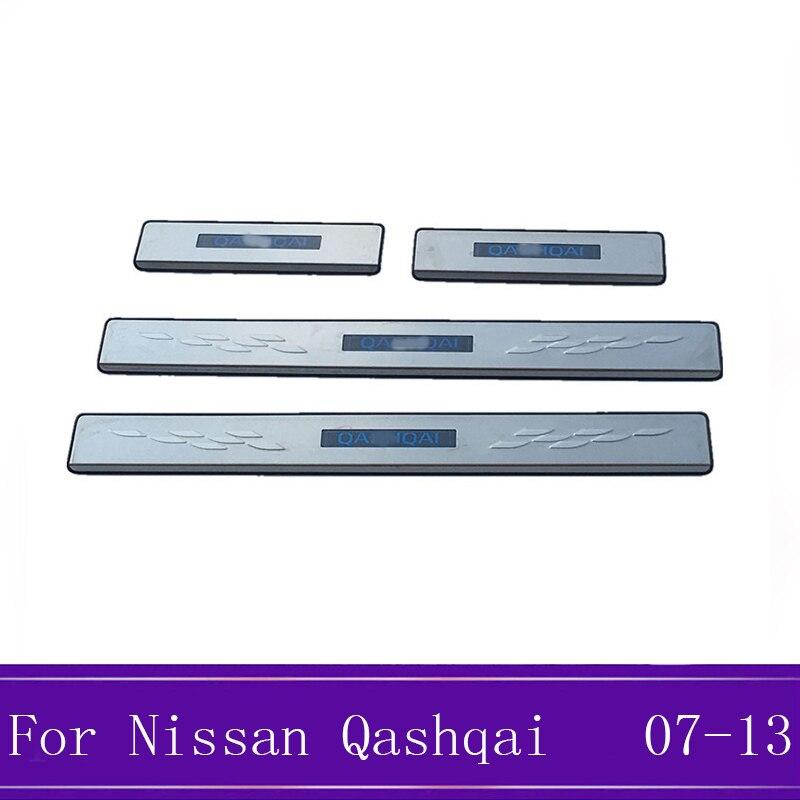 4 pièces bande de seuil de porte en acier inoxydable bienvenue pédale autocollants voiture style accessoires pour Nissan Qashqai J10 2007-2013 avec LED