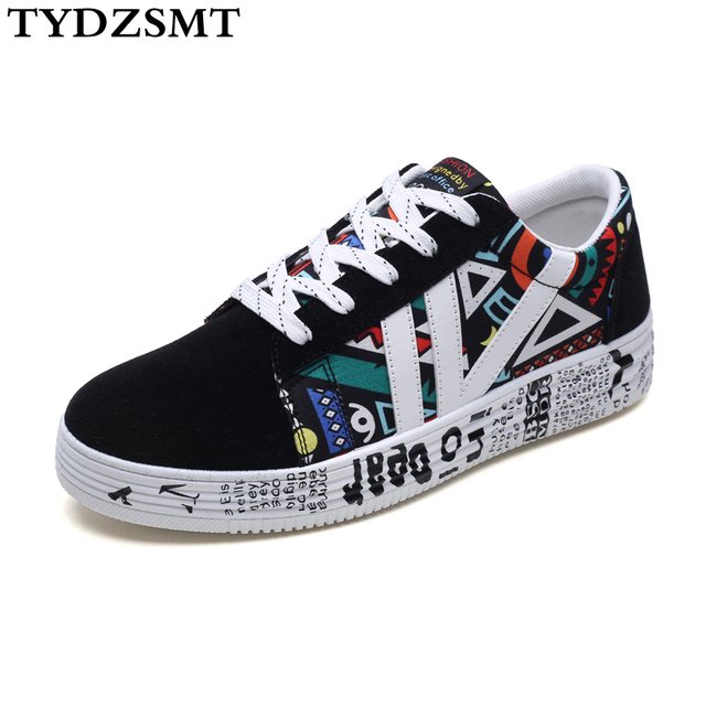 TYDZSMT Graffiti Sneakers Women Black Canvas Shoes Platform Sneakers 2020 Spring/Autumn Plus Size Lover Shoes Zapatillas Mujer