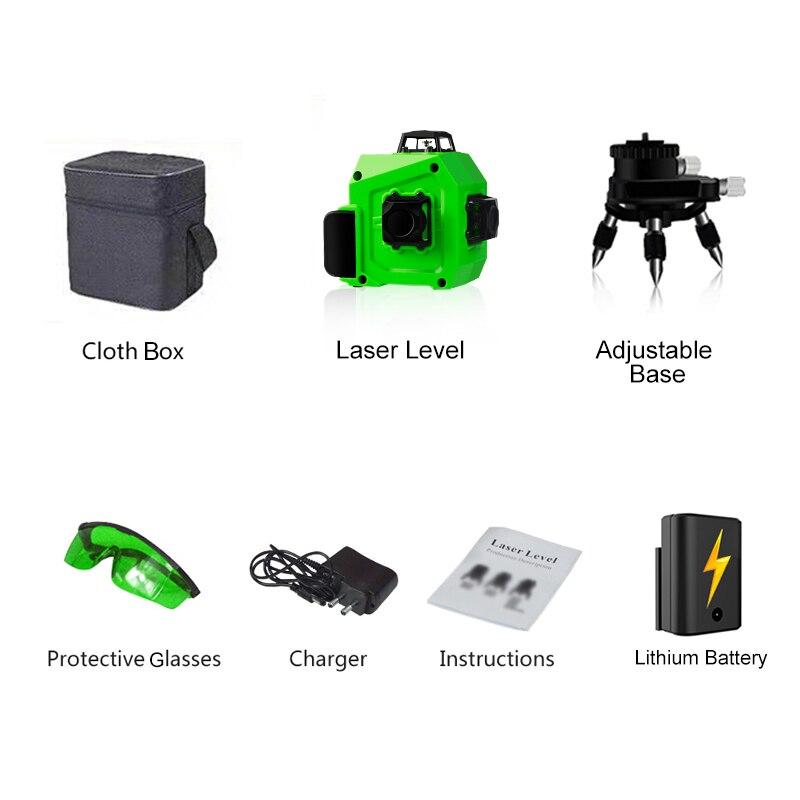 PRACMANU лазерный уровень зеленый 12 линий 3D уровень самонивелирующийся 360 горизонтальный и вертикальный крест супер мощный зеленый лазерный уровень - Цвет: lux cloth box