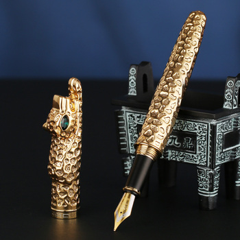 Jinhao New Luxury Fountain Pen Leopard Ink Pen Art Pens Luxury Collection Business Office Gift Pen 2 Colors luxury jinhao roller ball pen hollow steel golden dragon and phoenix married couple gift