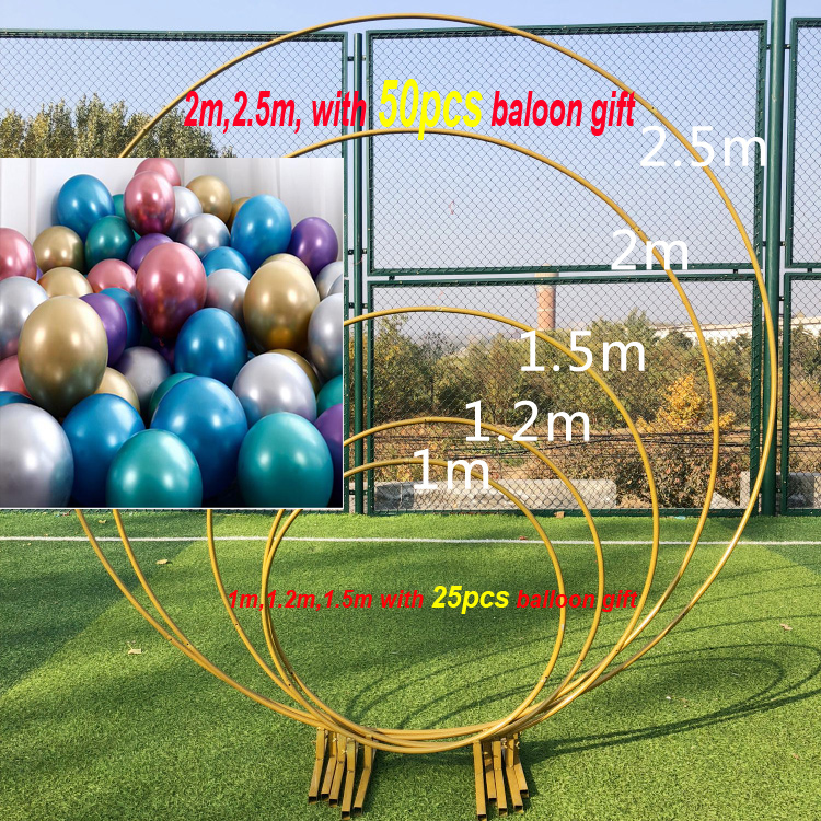 Iron Circle Wedding Birthday Arch Decoration Background Wrought Props Single Balloon Or Flower Arch  Outdoor Lawn Road Guide
