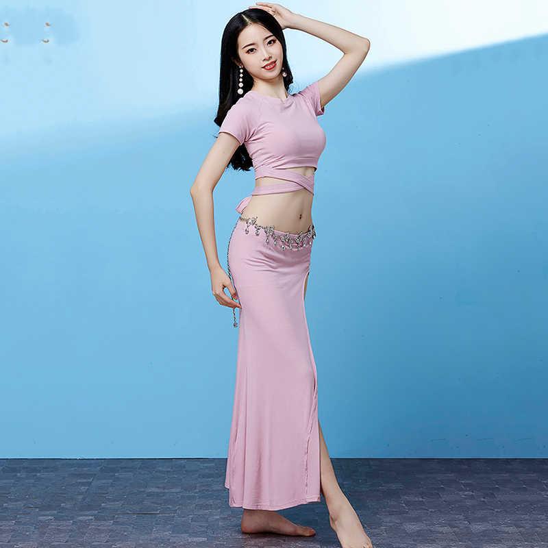 Bellydance Phương Đông Trang Phục Người Lớn Ngắn Tay Băng Đầu Xẻ Tà Dài Váy Nữ Múa Bụng Đào Tạo Trang Phục Mặc DNV11885