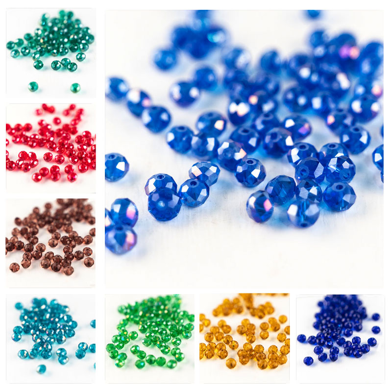 Transparent Multi-color Glass Beads 3*4mm 4*6mm 6*8mm Cut Crystal Glass Beads Loose Beads For DIY Production Of Various Jewelry