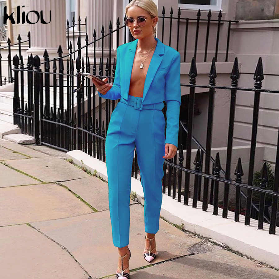 Conjunto de dos piezas de neón kliou abrigo corto + Pantalones trajes (venta por separado de cinturón) 2019 otoño mujer moda Pantalones chándal streetwear