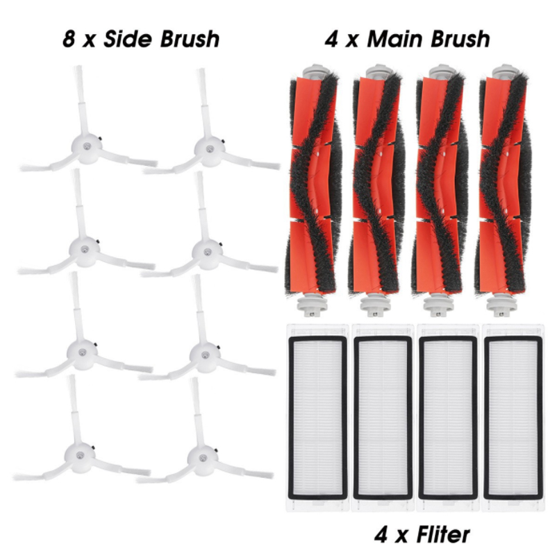 100% brand new 4* main brush +4* filter +8* side brush accessories for <font><b>Xiaomi</b></font> Mijia vacuum cleaner 1/ <font><b>2</b></font> <font><b>Roborock</b></font> <font><b>S50</b></font> S6 vacuum image