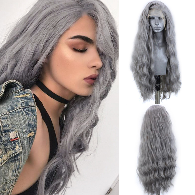 Charisma Sliver Grey Synthetic Lace Front Wig With Natural Hairline Water Wave Heat Resistant Wigs For Black Women