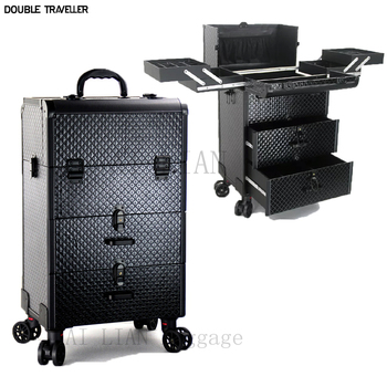 Nowa kosmetyczka na kółkach walizka na kółkach do makijażu walizka kosmetyczna torby kosmetyczne na kółkach torba na wózek na kółkach tanie i dobre opinie DOUBLE TRAVELLER CN (pochodzenie) Spinner 34CM 819 806 bagaż Unisex makeup trolley luggage Women travel suitcase Professional cosmetic bag