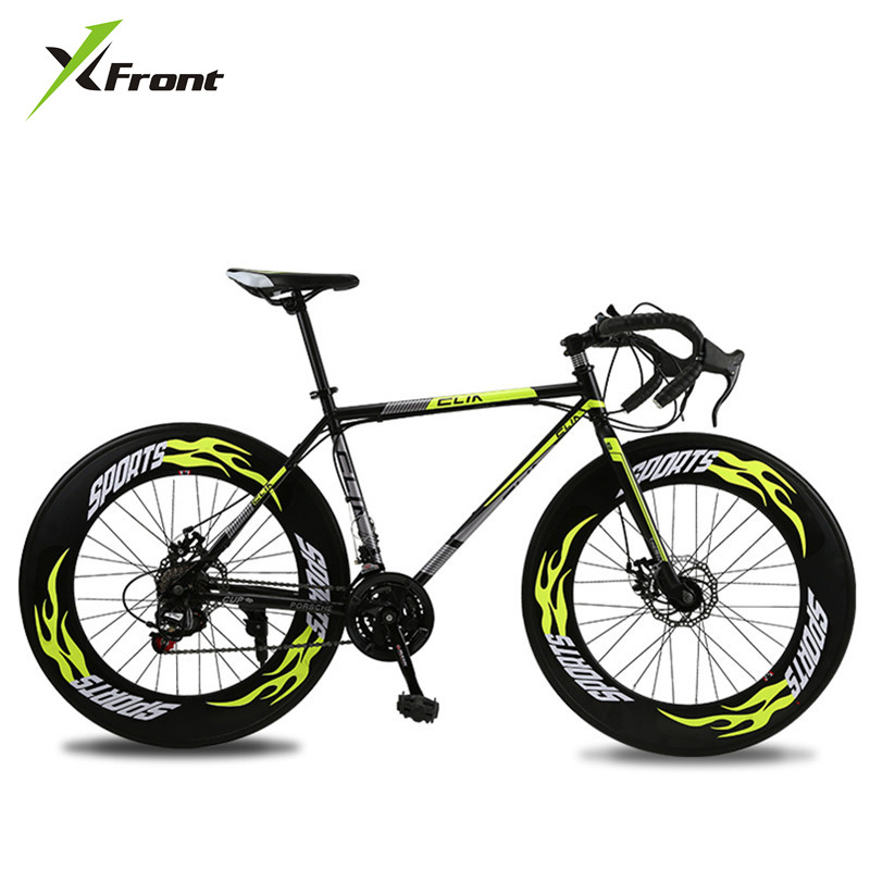 New Road Bicycle Carbon Steel Frame 700CC Wheel 21/27 Speed Dual Disc Brake Bicycle Outdoor Sports Racing Cycling Bicicleta