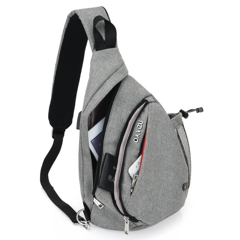 Men Women Sling Chest Backpacks USB Charging Crossbody Shoulder Teenagers Boys School Bag Daypacks Rucksack For Cycling Walking