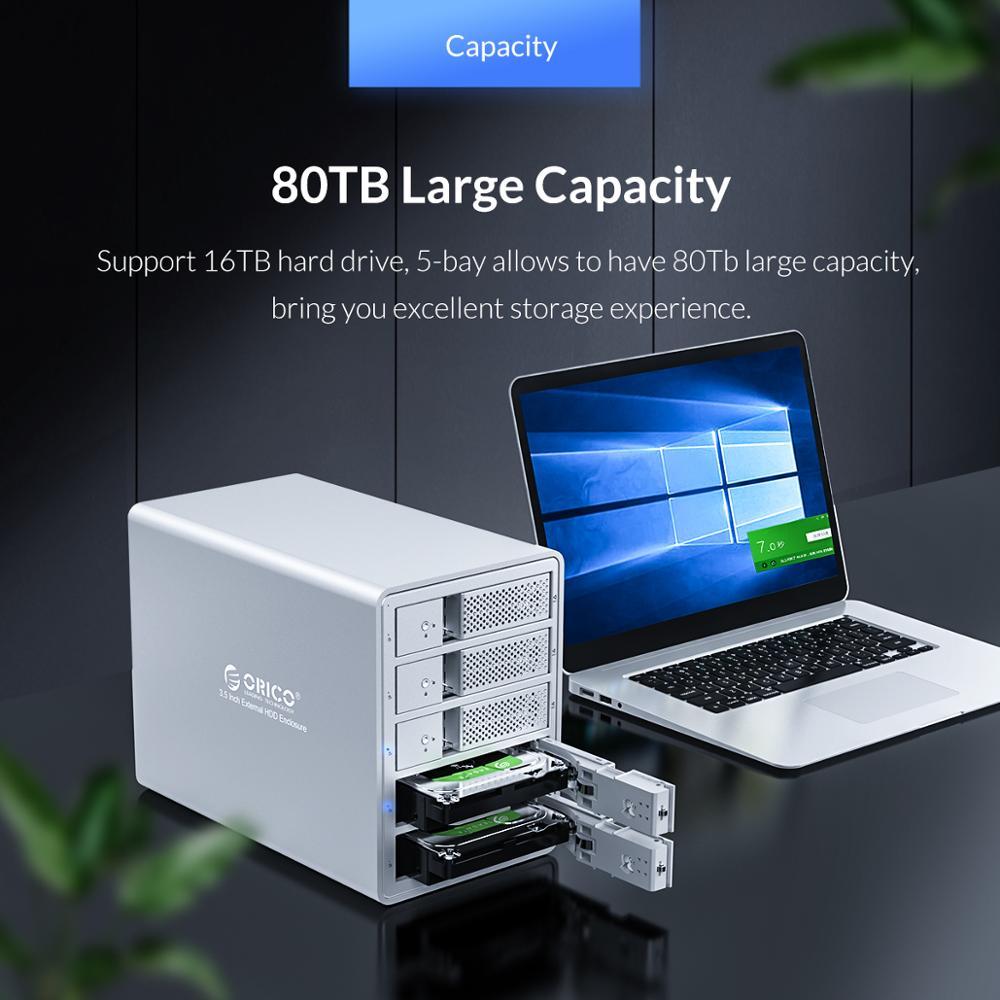 Image 4 - ORICO 95 Series 5 Bay 3.5 SATA na USB 3.0 stacja dokująca HDD na 80TB UASP z wewnętrznym zasilaczem 150W aluminiowa obudowa HDDhard drive enclosure5 baydrive enclosure -