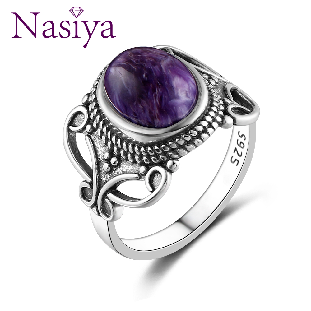 Nasiya 2019 Bohemia Style 8x10MM Oval Purple Charoite Rings For Women 925 Silver Ring Fine Jewelry For Anniversary Party Gift