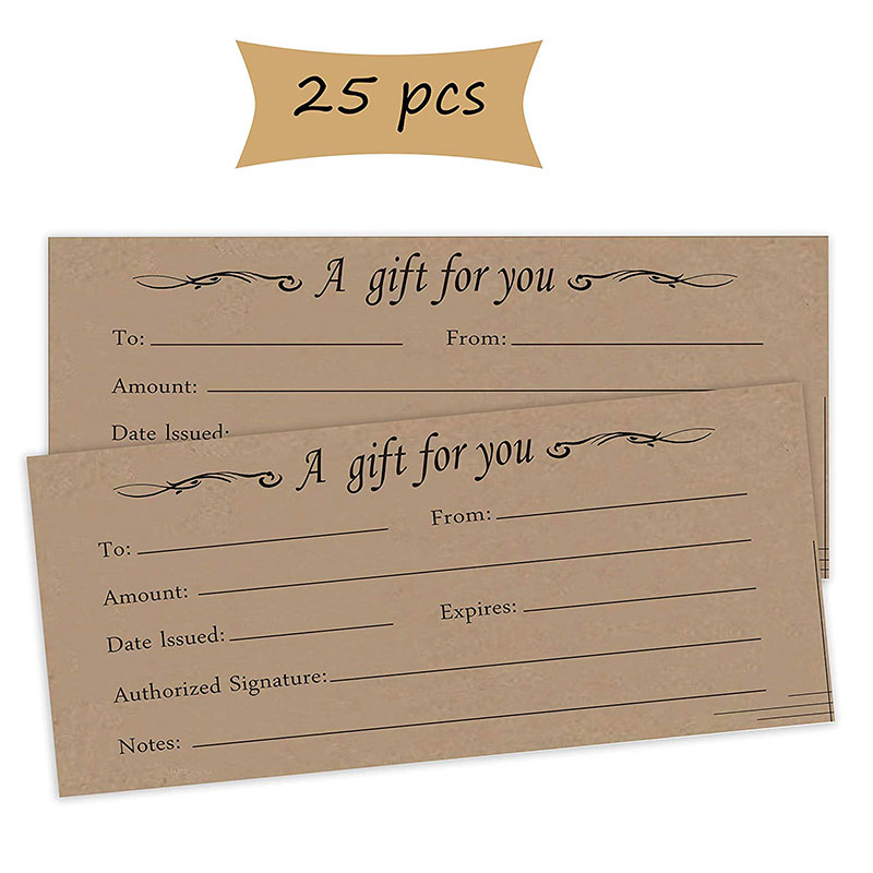 25 Pack Gift Certificate Cards 4X9 inch Blank Gift Vouchers for Business,Christmas,Holiday,Birthday,Wedding