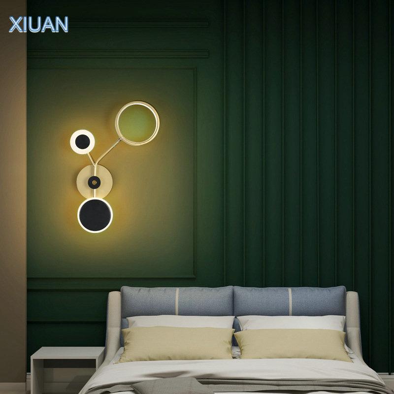 Купить креативная настенная лампа черного и золотого цвета с регулируемым