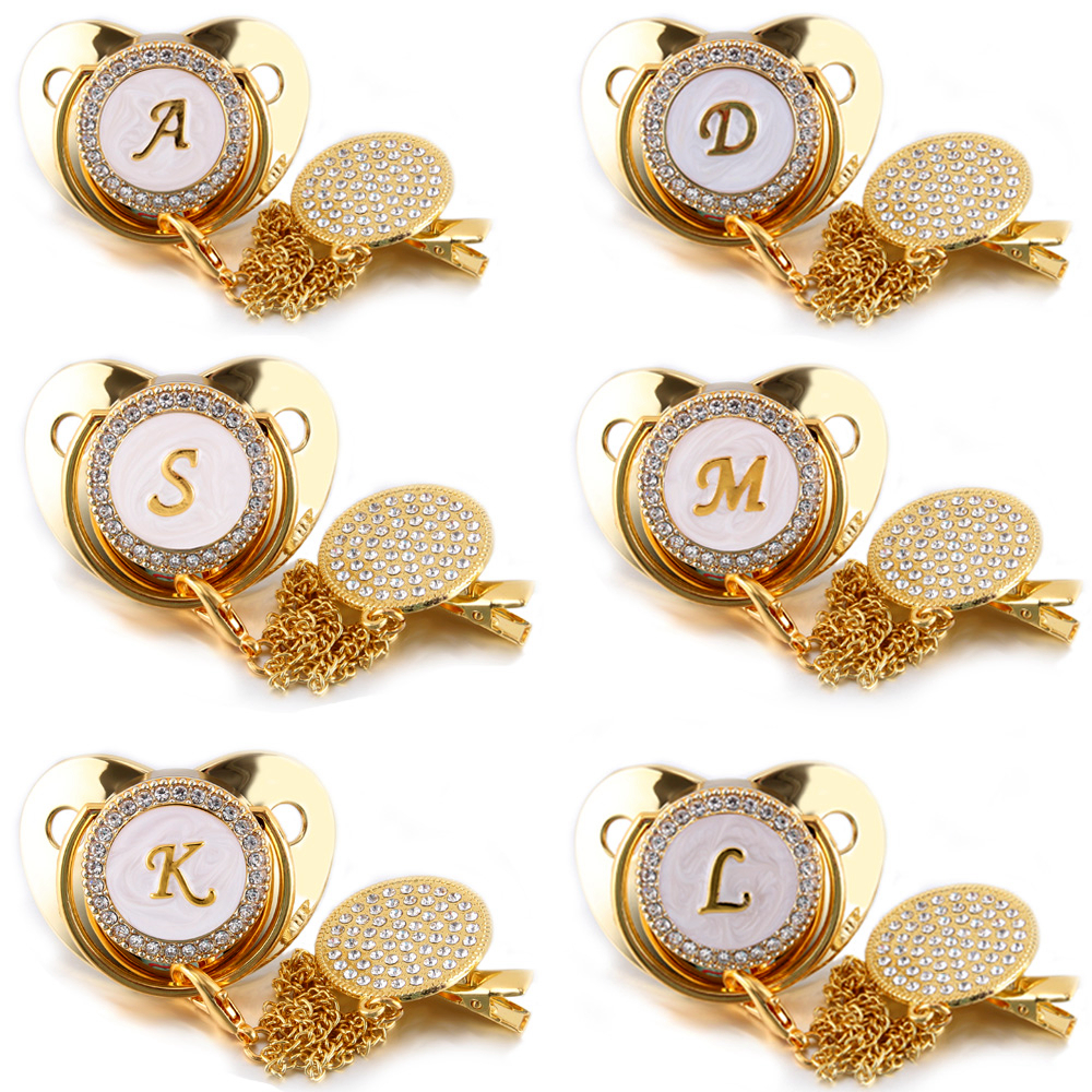 26 Name Initial Letter Baby Pacifier and Pacifier Clips BPA Free Silicone Infant Nipple Gold Bling Newborn Dummy Soother 1