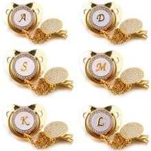 26 Name Initial Letter Baby Pacifier and Pacifier Clips BPA Free Silicone Infant Nipple Gold Bling Newborn Dummy Soother