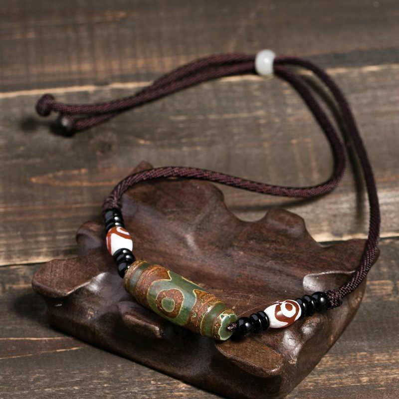 Tự Nhiên Tây Tạng Onyx 3 Mắt Dzi Mặt Dây Chuyền Đẹp, Mặt Dây Chuyền Nam Dây Có Thể Điều Chỉnh Độ Dây Chuyền Vòng Cổ Choker Cho Phụ Nữ Và Nam Giới Phật Giáo Trang Sức