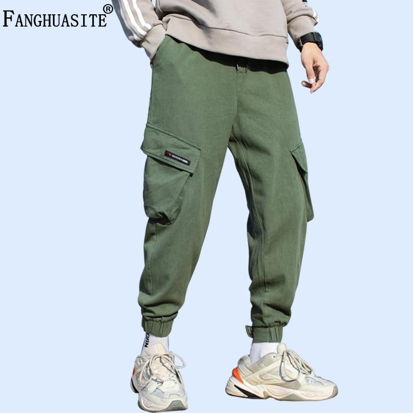 Brand Men's Casual Pants High Quality 100% Cotton Hip Hop Loose Sweatpants 2019 Autumn Multi-pocket Fashion Cargo Pants A1025