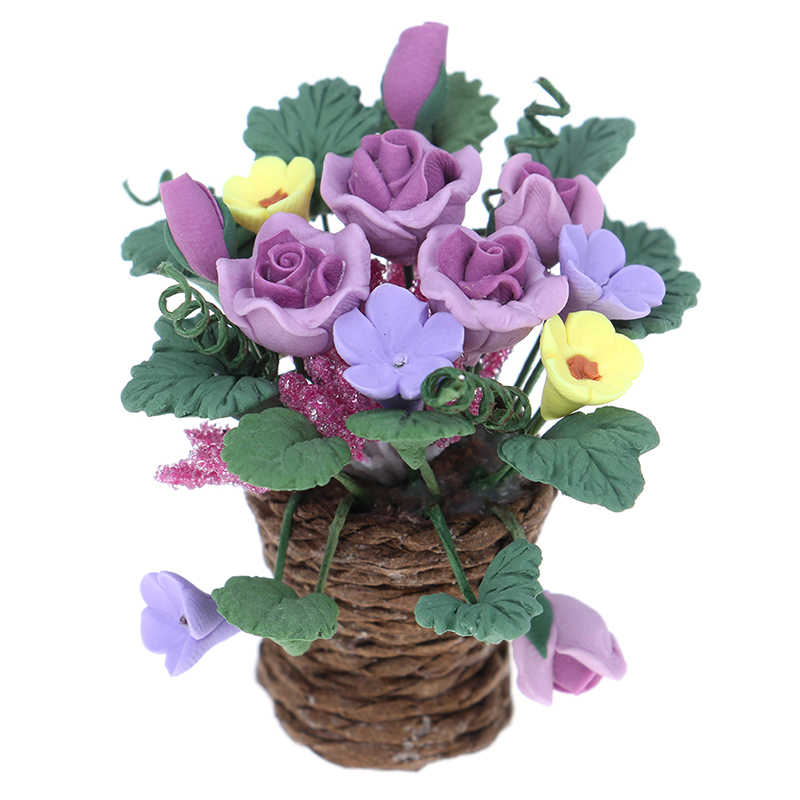 1:12Scale Dollhouse Miniatures Clay Flowers in Rattan Pots Planters Fairy Garden