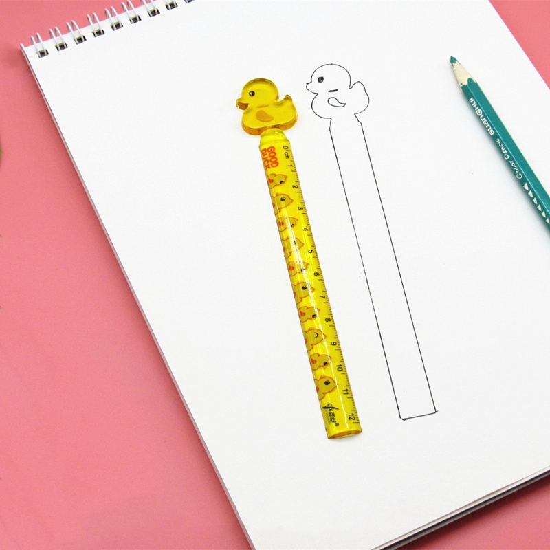 Cute Duck Plastic Straight Ruler Measuring Tool Stationery Office School Supply LX9A