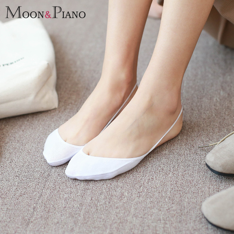 Invisible Socks Women High-heeled Shoes Shallow Mouth Sling Comfortable Elastic Spring Summer Thin Forefoot Half Cotton Sock
