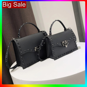 Image 1 - Jelly Bags For Women Solid Flap Fashion Messenger Bag Rivet Women Shoulder Bag Small Big Lady Handbags High Quality Bags Womens