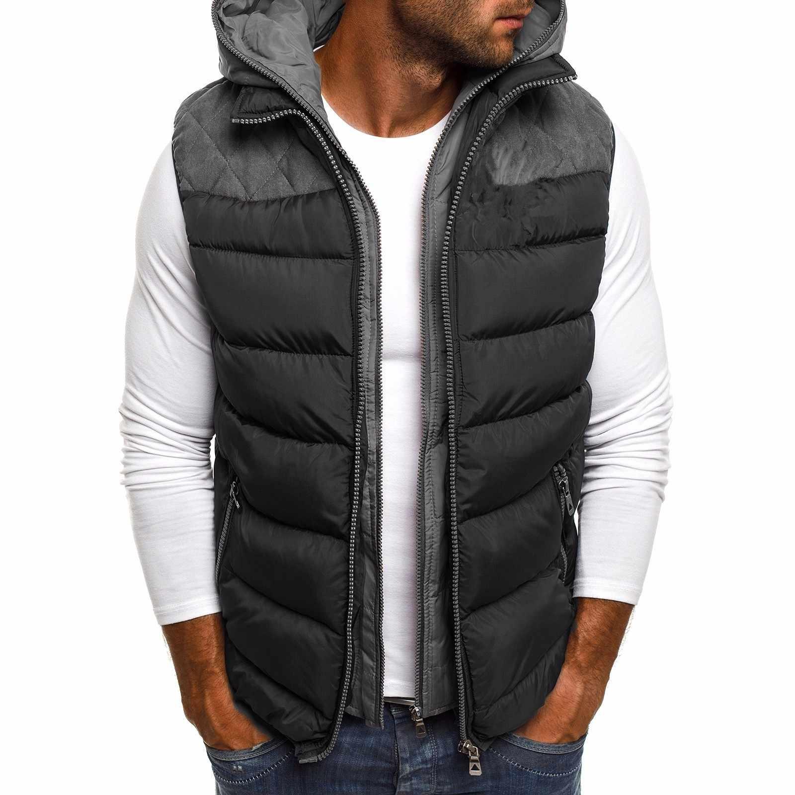 CYSINCOS, новинка, зимнее пальто, жилет, мужская теплая куртка без рукавов, повседневный жилет, хлопковый жилет, пальто с капюшоном, пуховик, мужской жилет