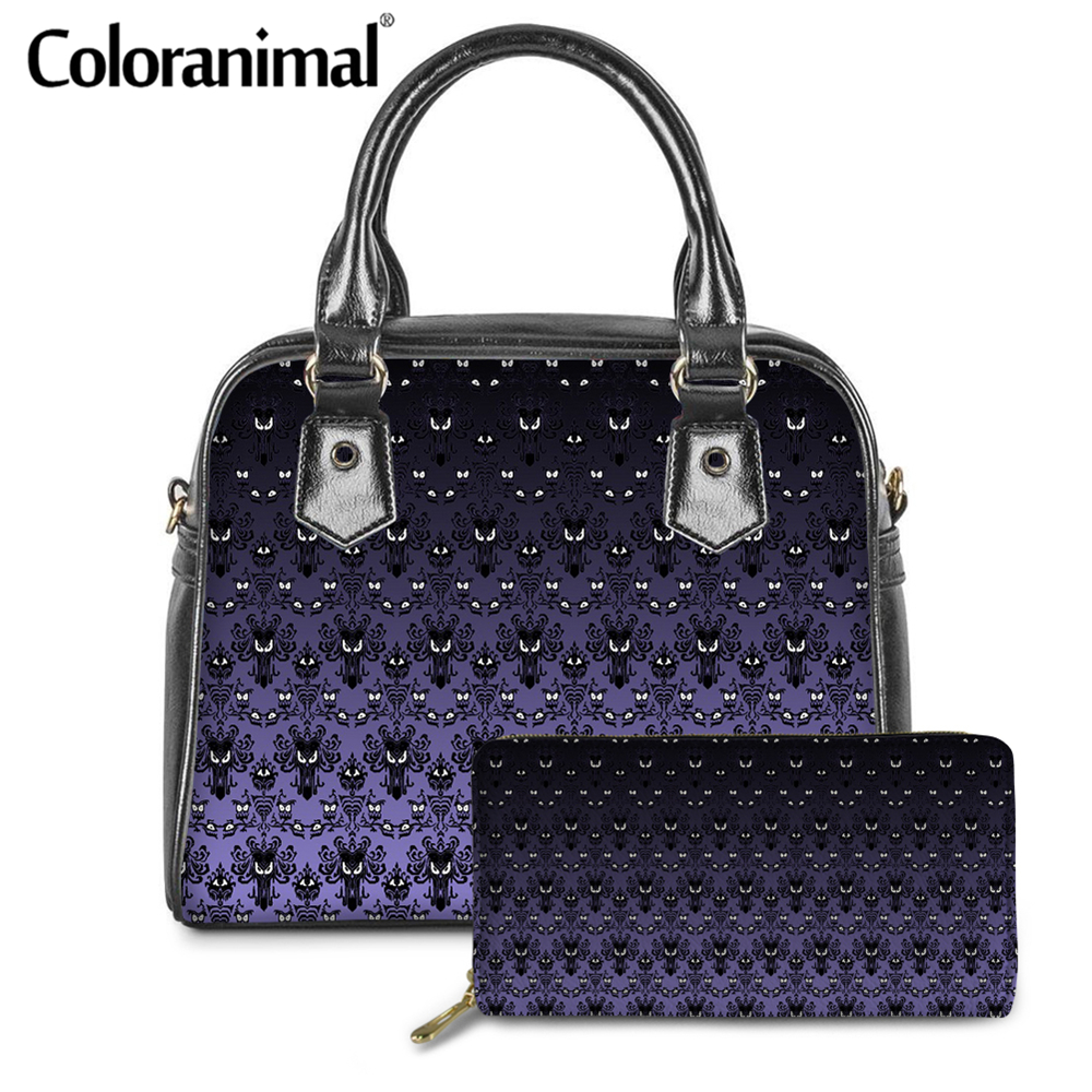 Coloranimal Fashion Female 2pcs/set PU Leath Shoulder Tote Handbags &Purse Haunted Mansion Printed Ladies Crossbody  Bag