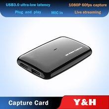 Récepteur de carte d'acquisition de vidéo, compatible avec USB 3.0, 1080P60FPS, HDMI, pour XBOX, PS4, TV, enregistrement, PC, OBS, Streaming en direct, micro, en boucle