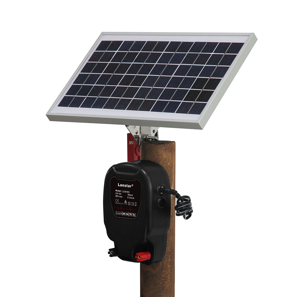 Solar Powered Kit Electric Fence Energizer Charger High Voltage Pulse Controller Animal Poultry Farm Shepherd