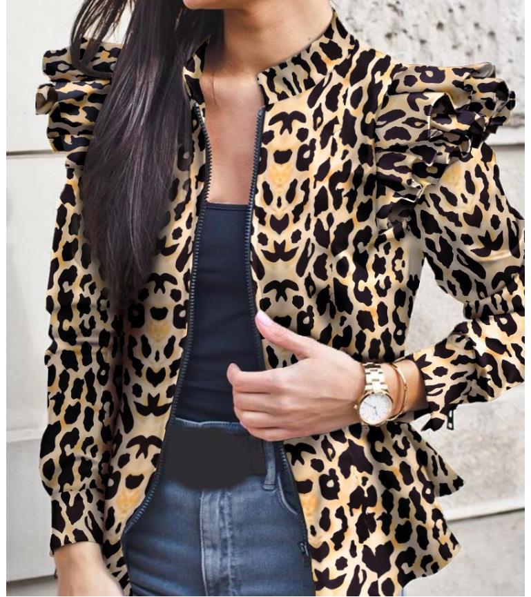 2021 Women Bomber Jacket Thin Printing Jackets Fashion Basic Long Sleeve Coat Casual Windbreaker Stand Collar Slim Outerw