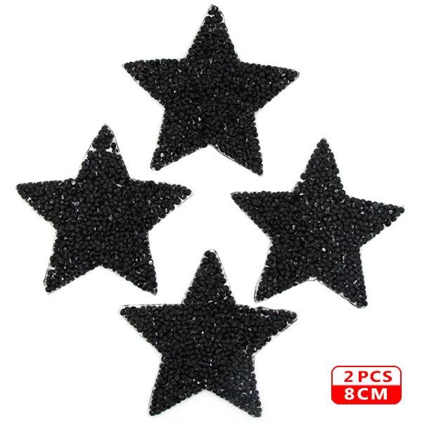 Стразы со звездами, смешанные размеры, нашивки, нашивки с вышивкой, термо-Стикеры для одежды, 5 видов цветов, блестки, нашивки для одежды, сделай сам - Цвет: 8cm Black 2pcs