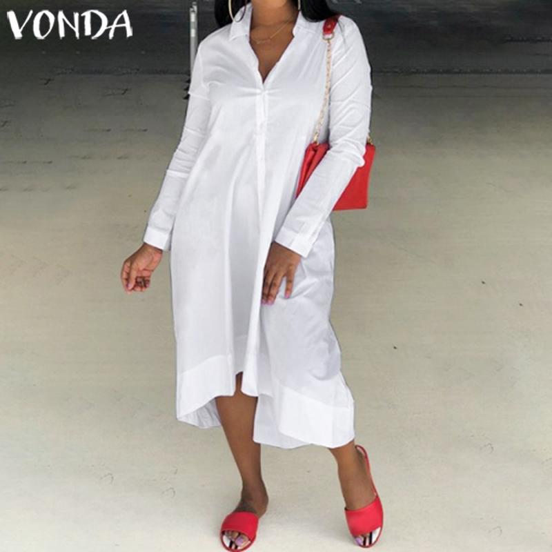 VONDA Black Dress 2019 Women Sexy Long Sleeve Party Dresses Autumn Office Ladies Sundress Tunic Beach Vestidos Robe Plus Size