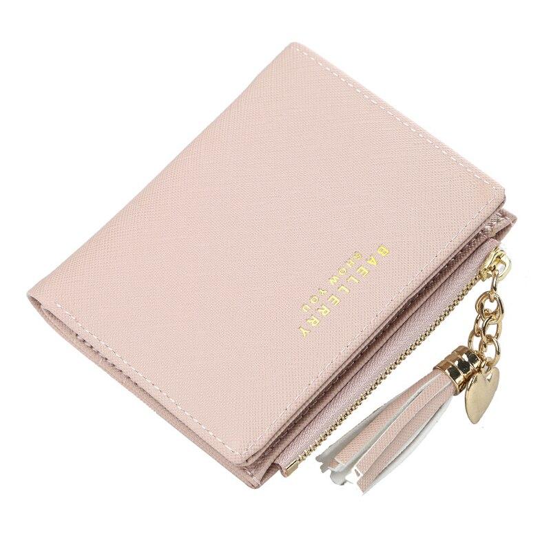 Women Tassle Credit Card Holder Wallet Travel Bifold Short Buckle Purse Multi-card Position Card Holder Brief Fashion Clutch Bag